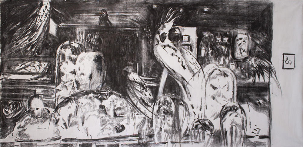 Nedovagna #2, charcoal on canvas, 150x250cm, 2020